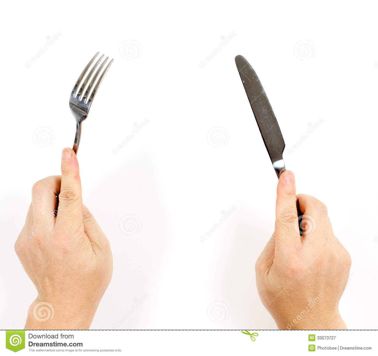 Hands and cutlery