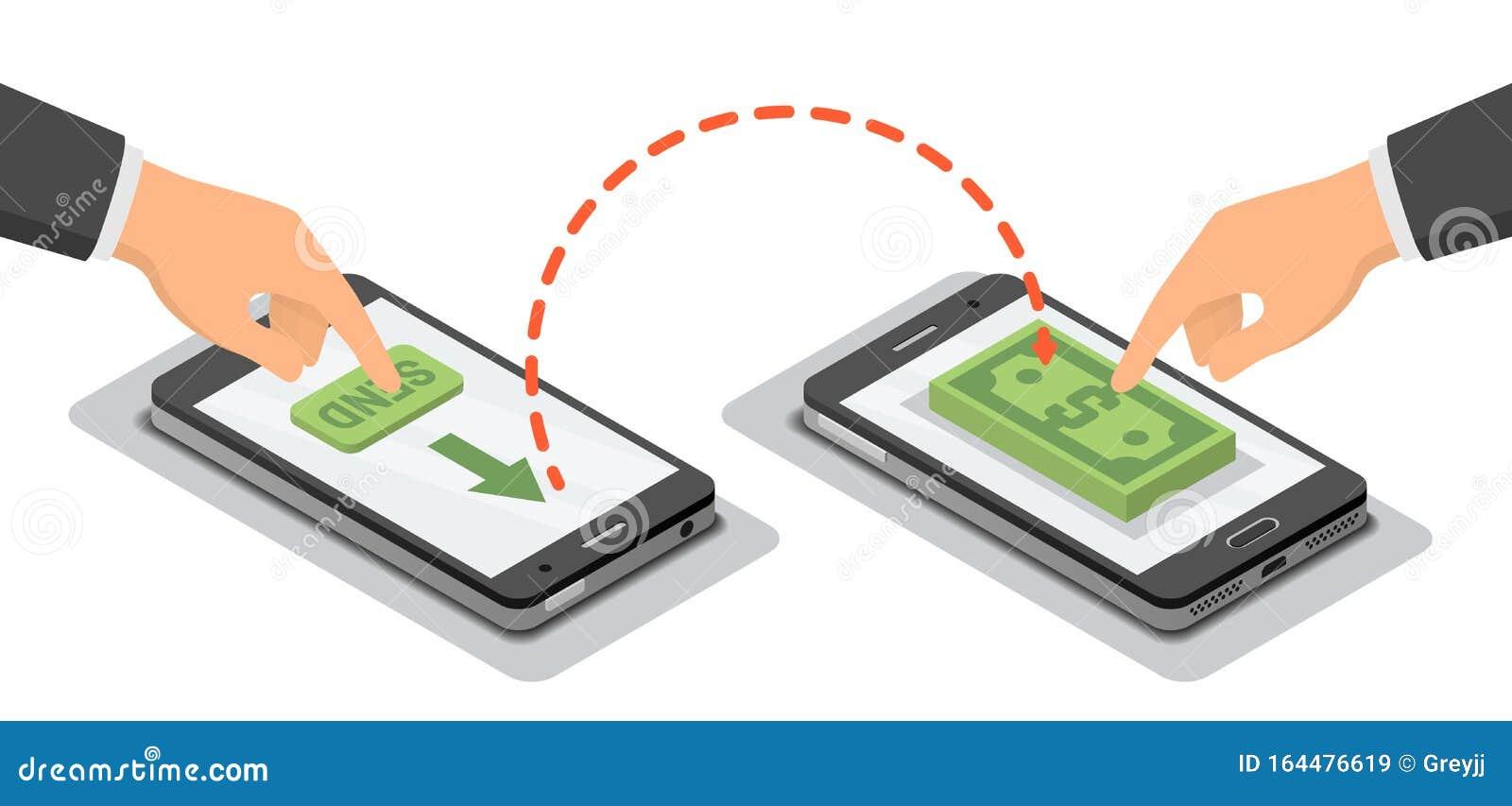 Hands, Die Smartphones Berühren, Die Drahtloses Geld