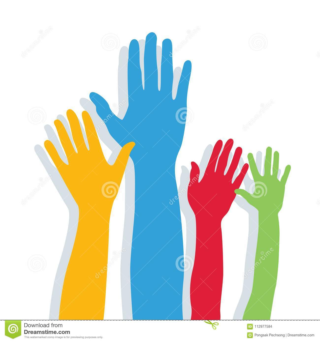 Hands of different colors. cultural and ethnic diversity.
