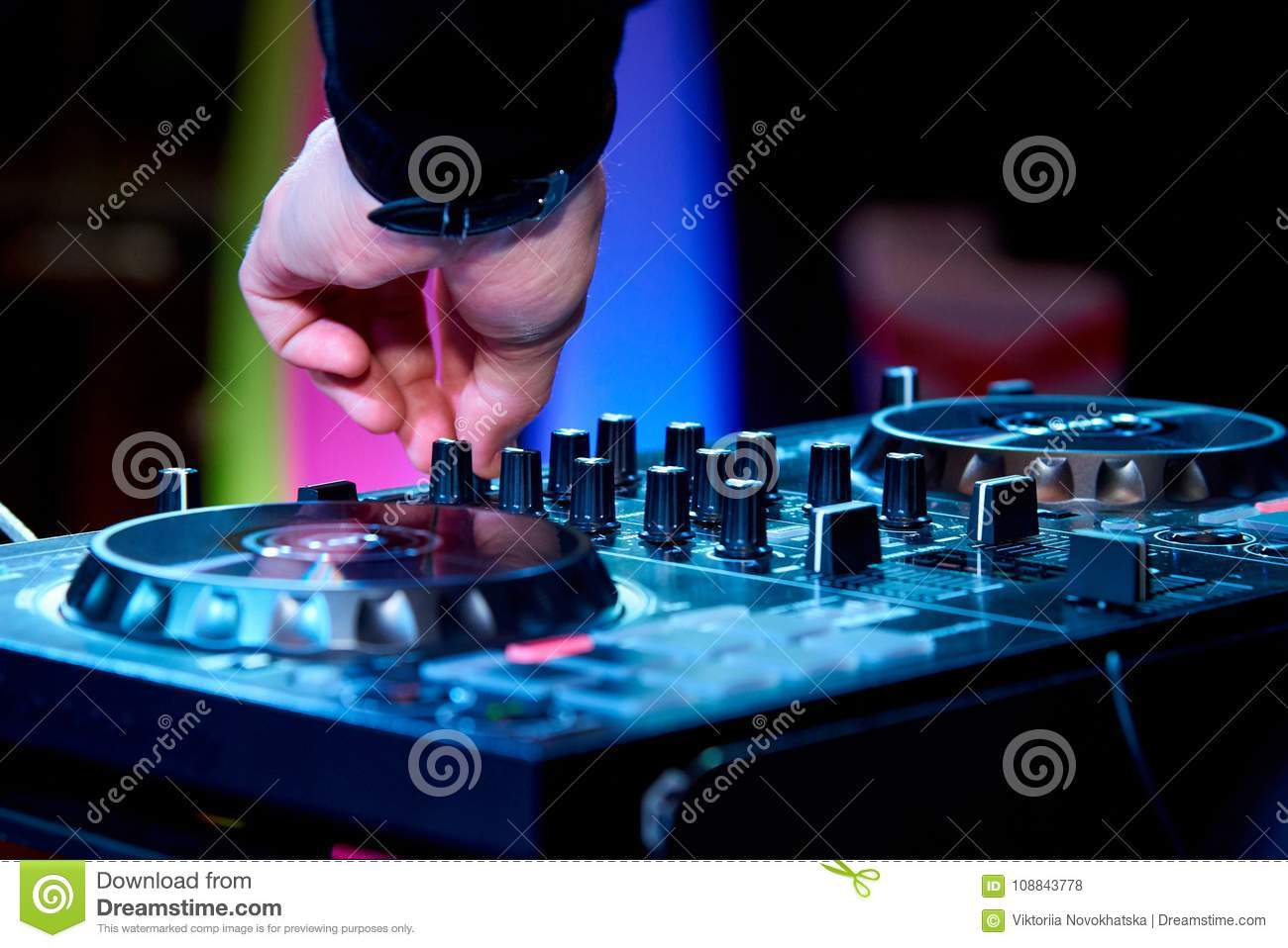 dj s hands at work stock photo image of entertainment 108843778