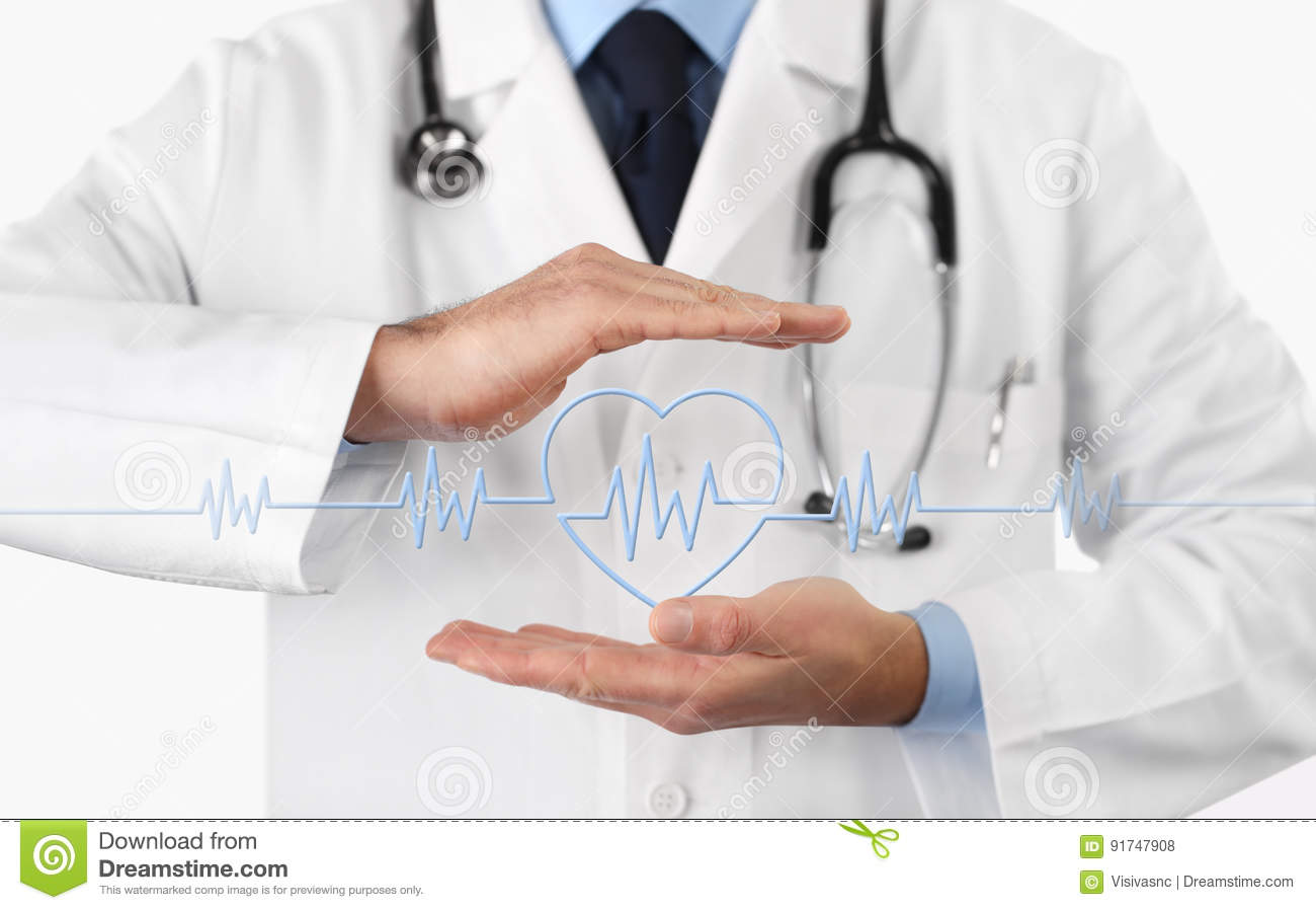 Hands doctor with heart beat icon