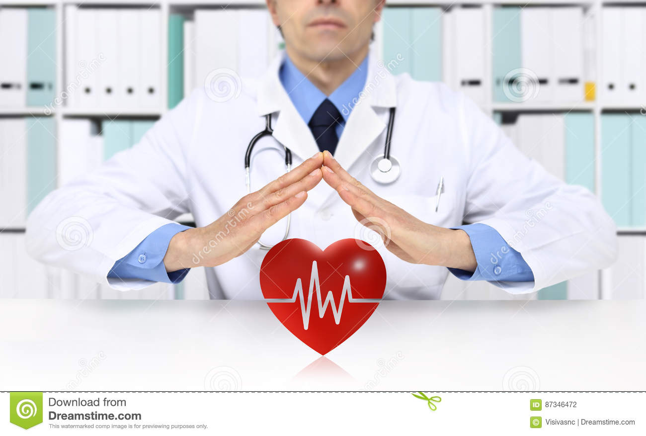 Hands doctor protect heart symbol, medical health insurance