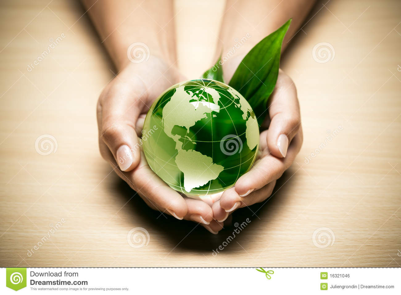 Hands with eco World globe