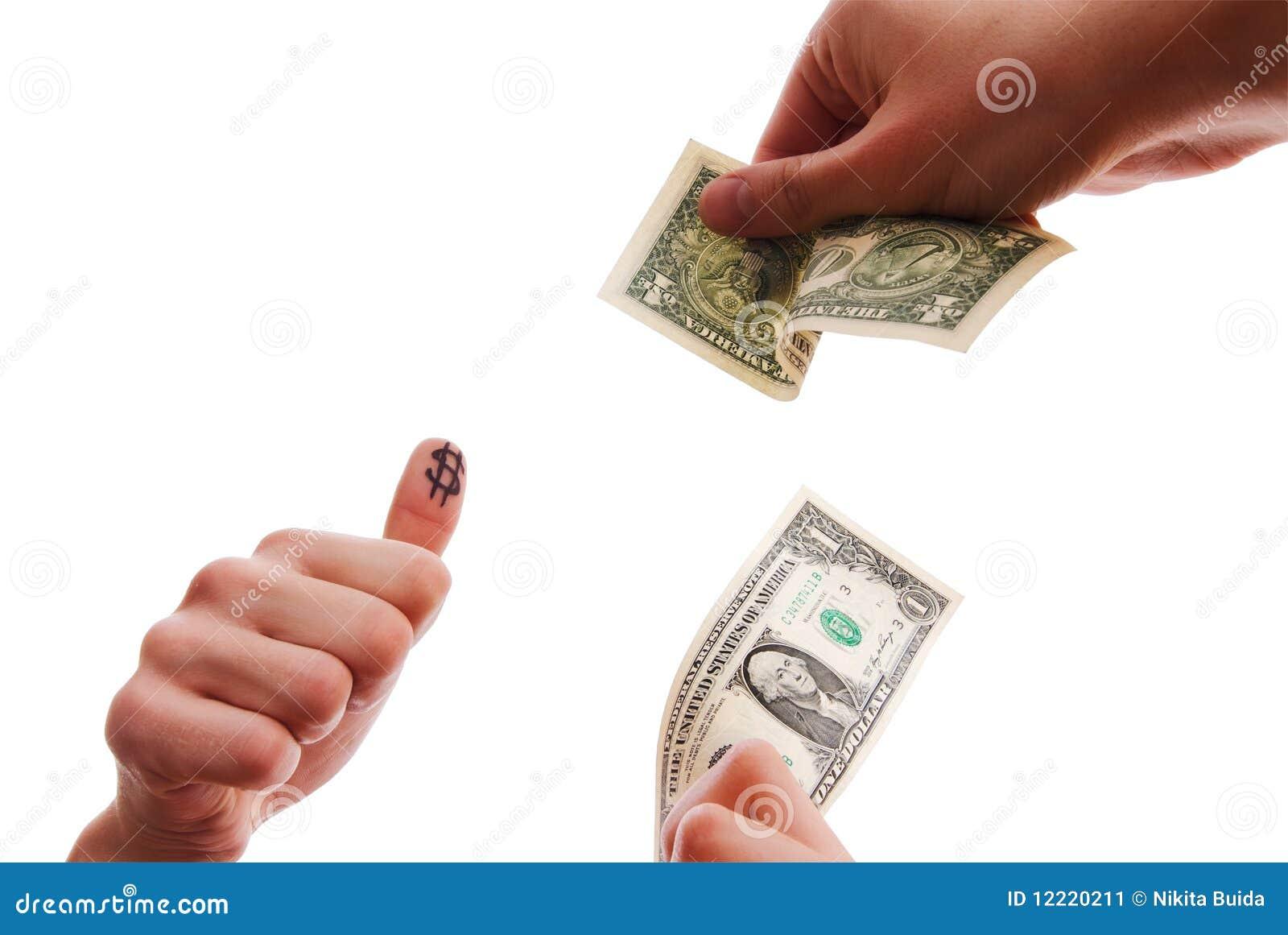 Hands exchanging dollars