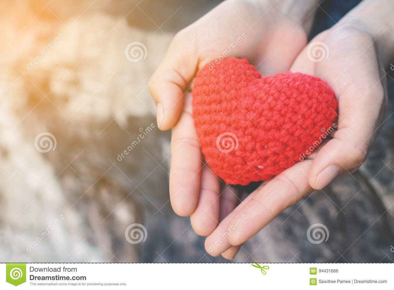 Hands female holding red heart on nature background