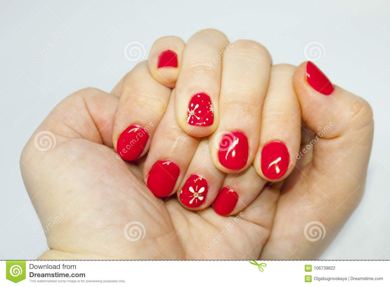 Manicure Nails Art Red And White Nail Polish Stock Photo Image Of