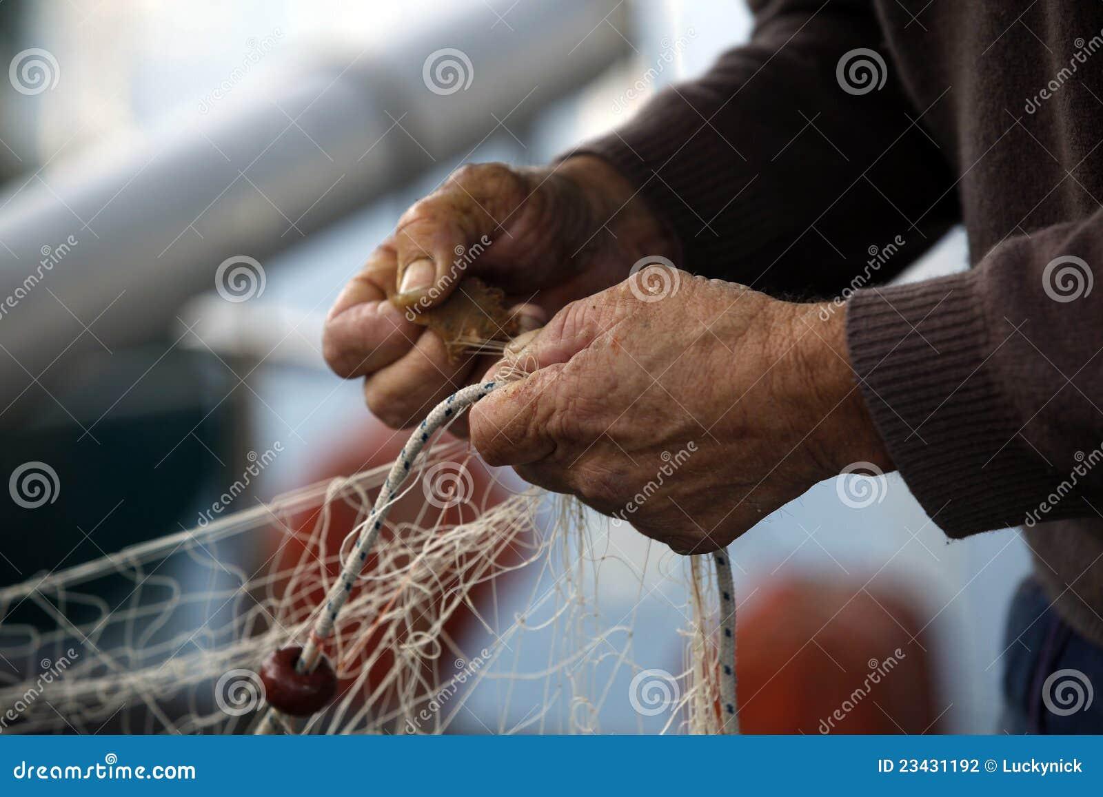 Hands of fisherman