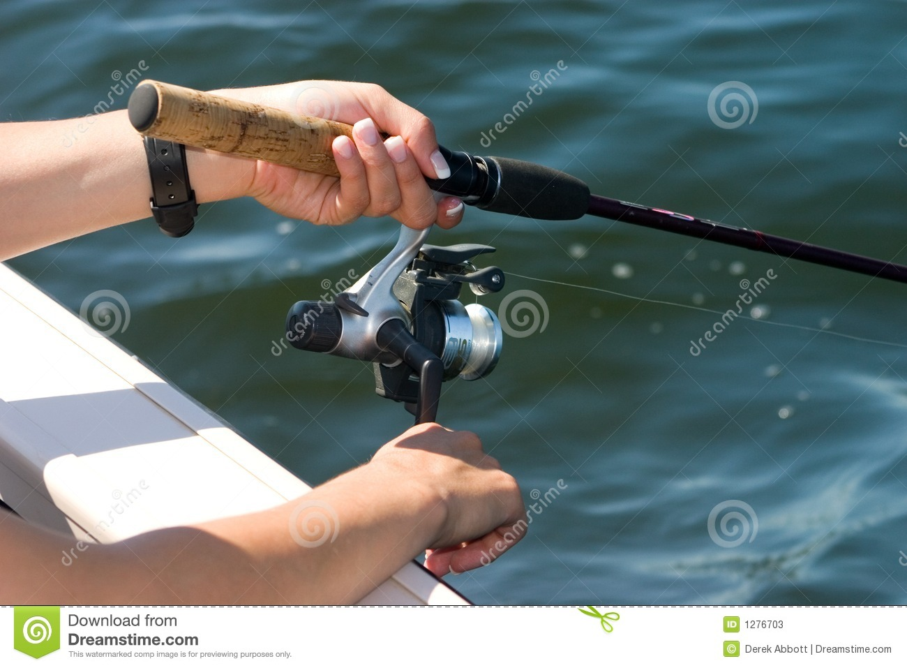 Hands on fishing reel