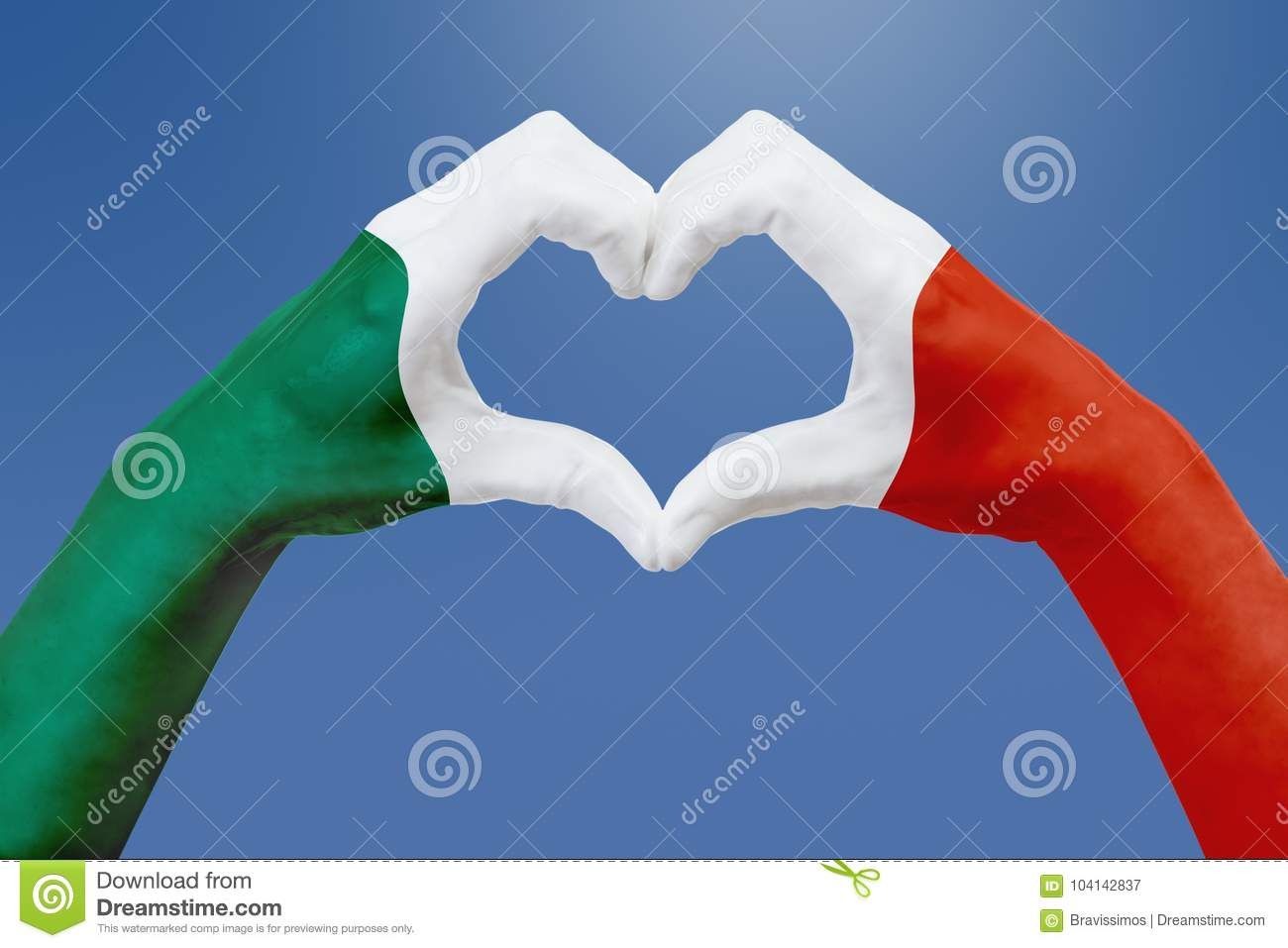 Hands Flag Of Mexico Shape A Heart Concept Of Country Symbol On