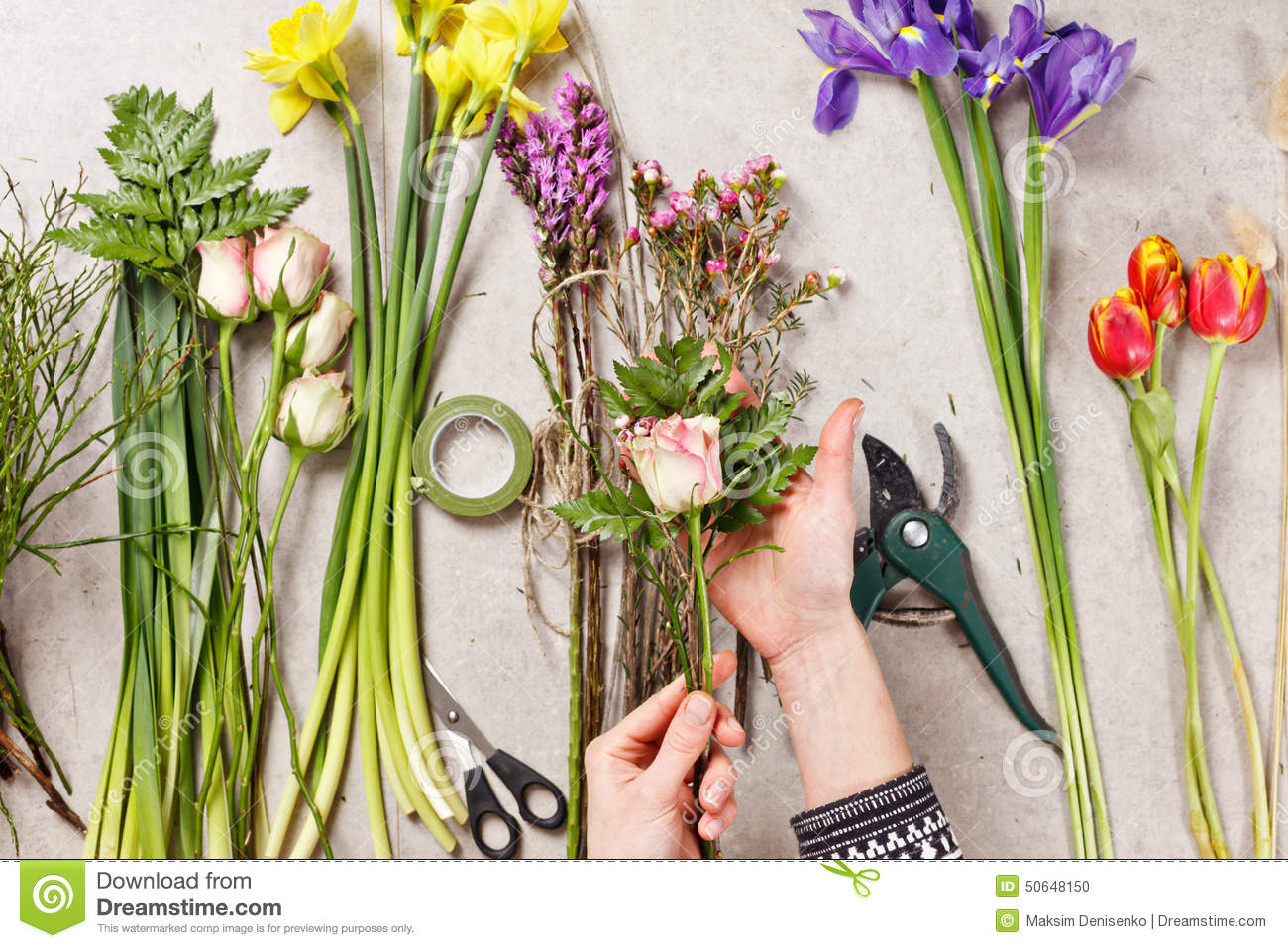 Hands Of Florist Making Bouquet Spring Flowers Stock Photo Image