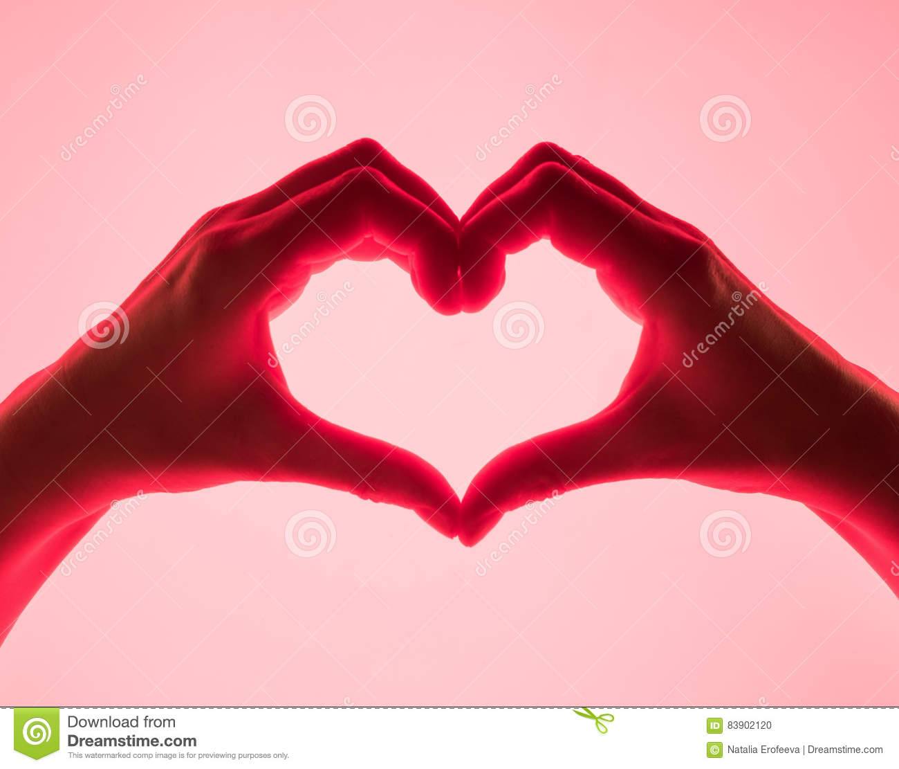 Hands In The Form Of Heart Red Background Heart Symbol With Hand