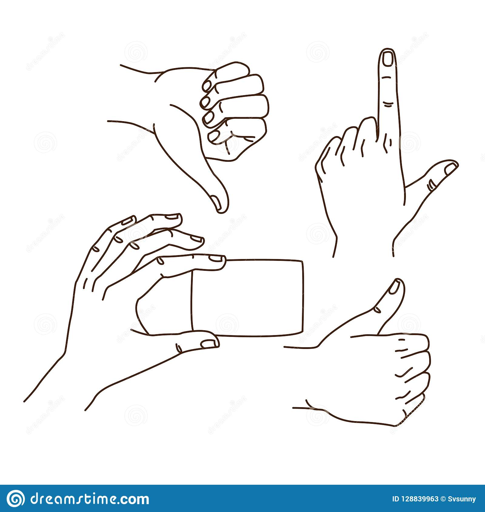 Hands gestures hand drawn set logo design isolated on white