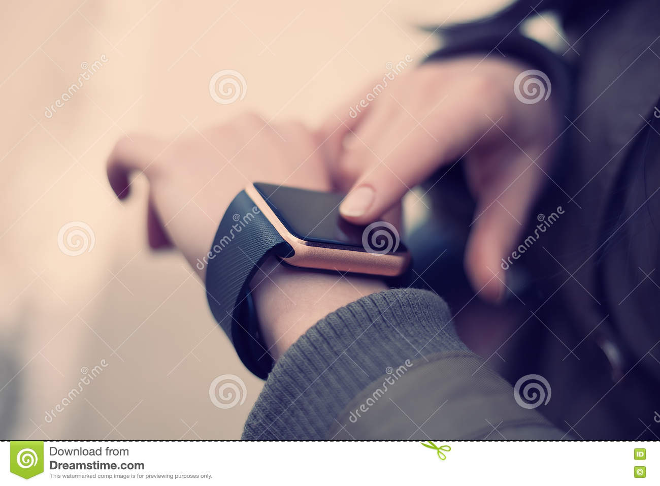 Hands Of A Girl Using Her Smart Watch Stock Image - Image of ...