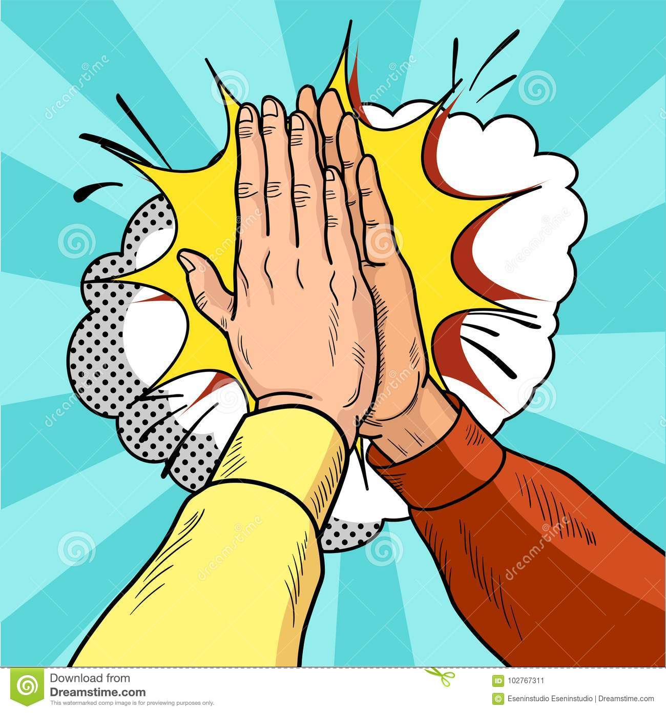 Hands give five pop art. Male hands in a gesture of success. Yellow and red sweaters. Vintage cartoon retro illustration.