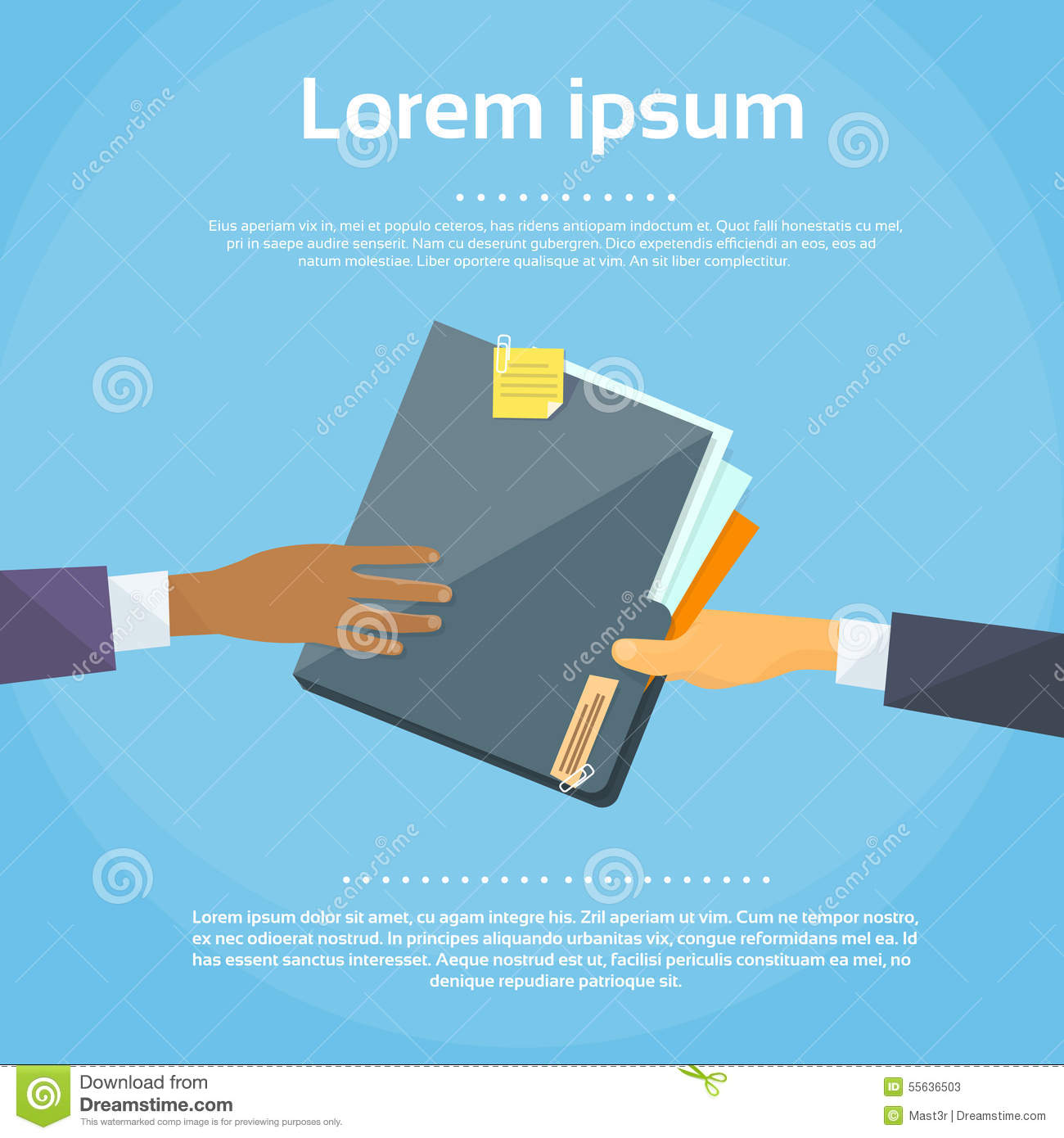 Hands Give Folder Document Papers, Concept Stock Vector - Image: 55636503