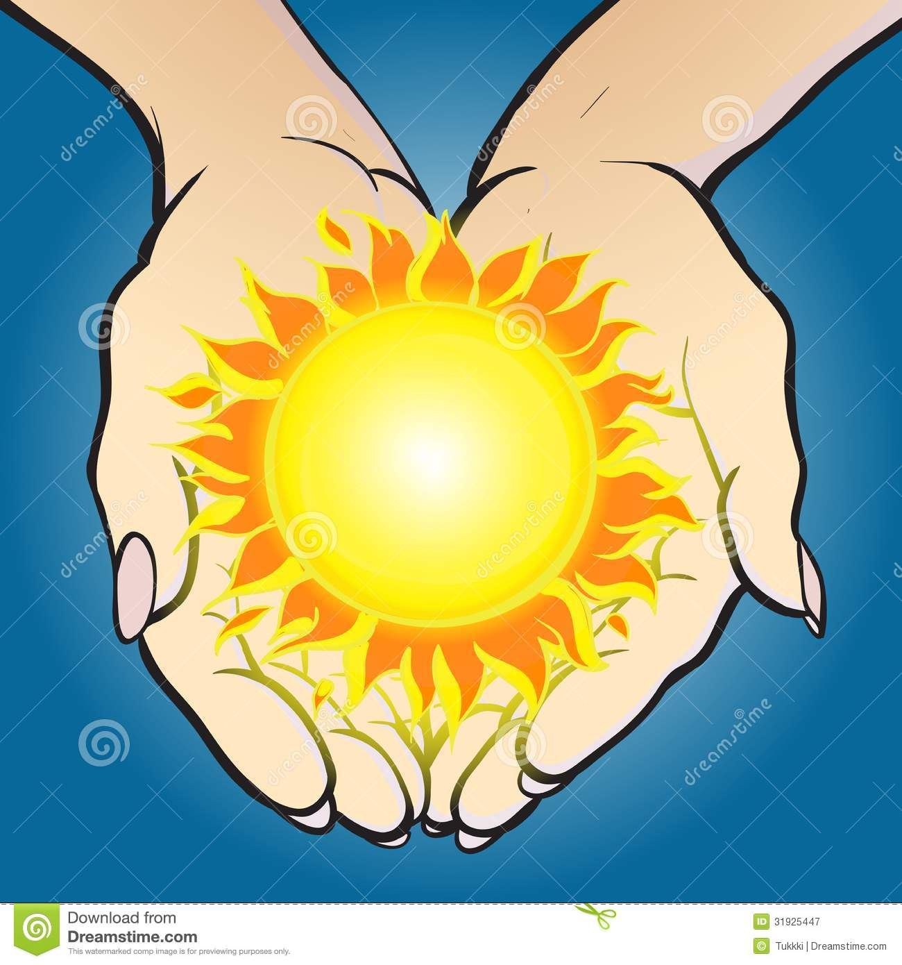 hands holding shining sun and giving it. Concept image of solar energy ...