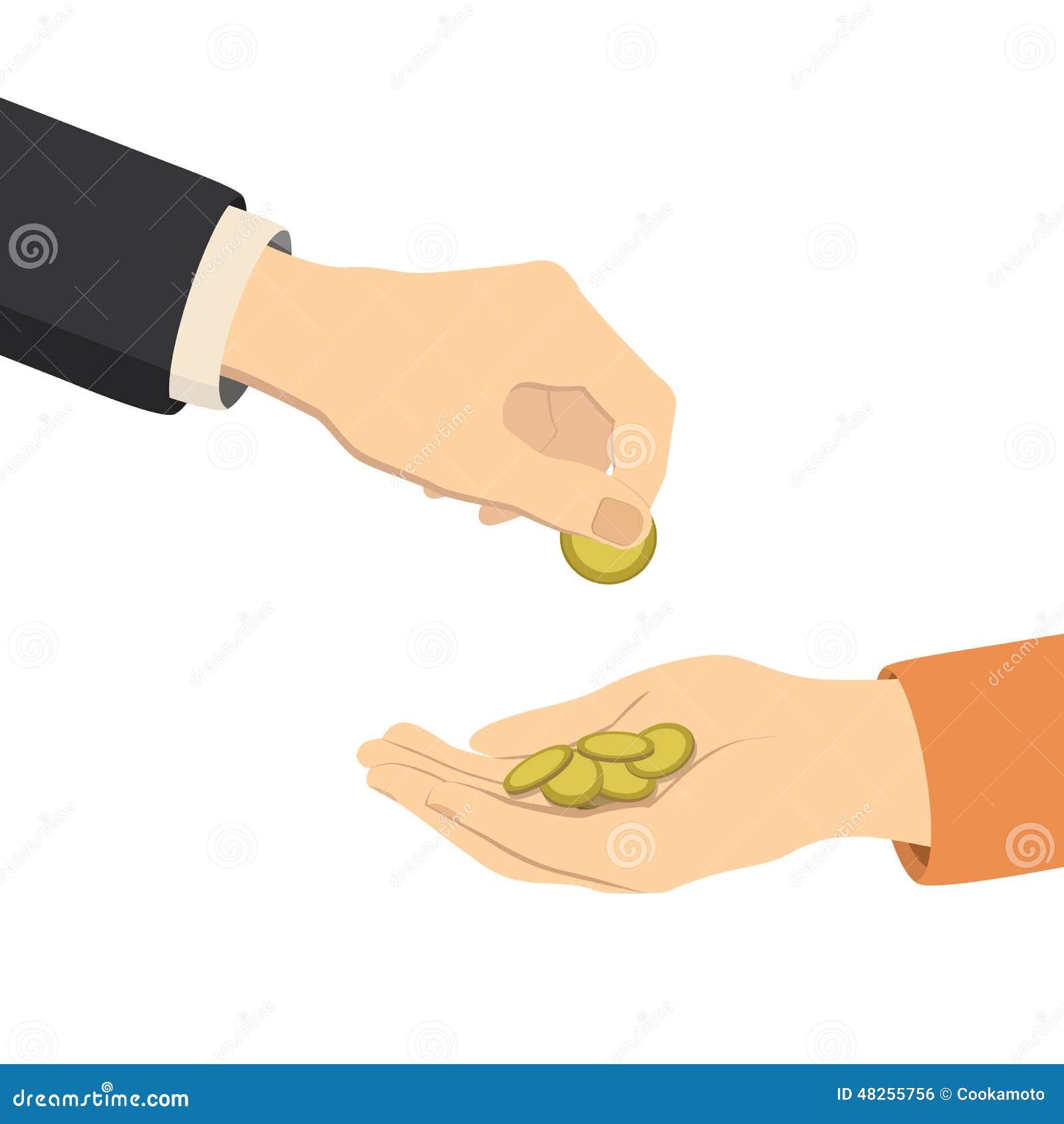 Cheese Fondue Hands Giving And Receiving Money Vector Stock Vector