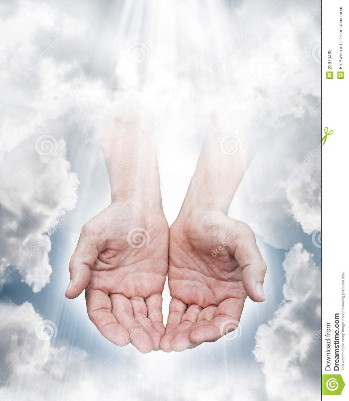 Hands coming from a cloudy sky with streaming light. Concept for the ...