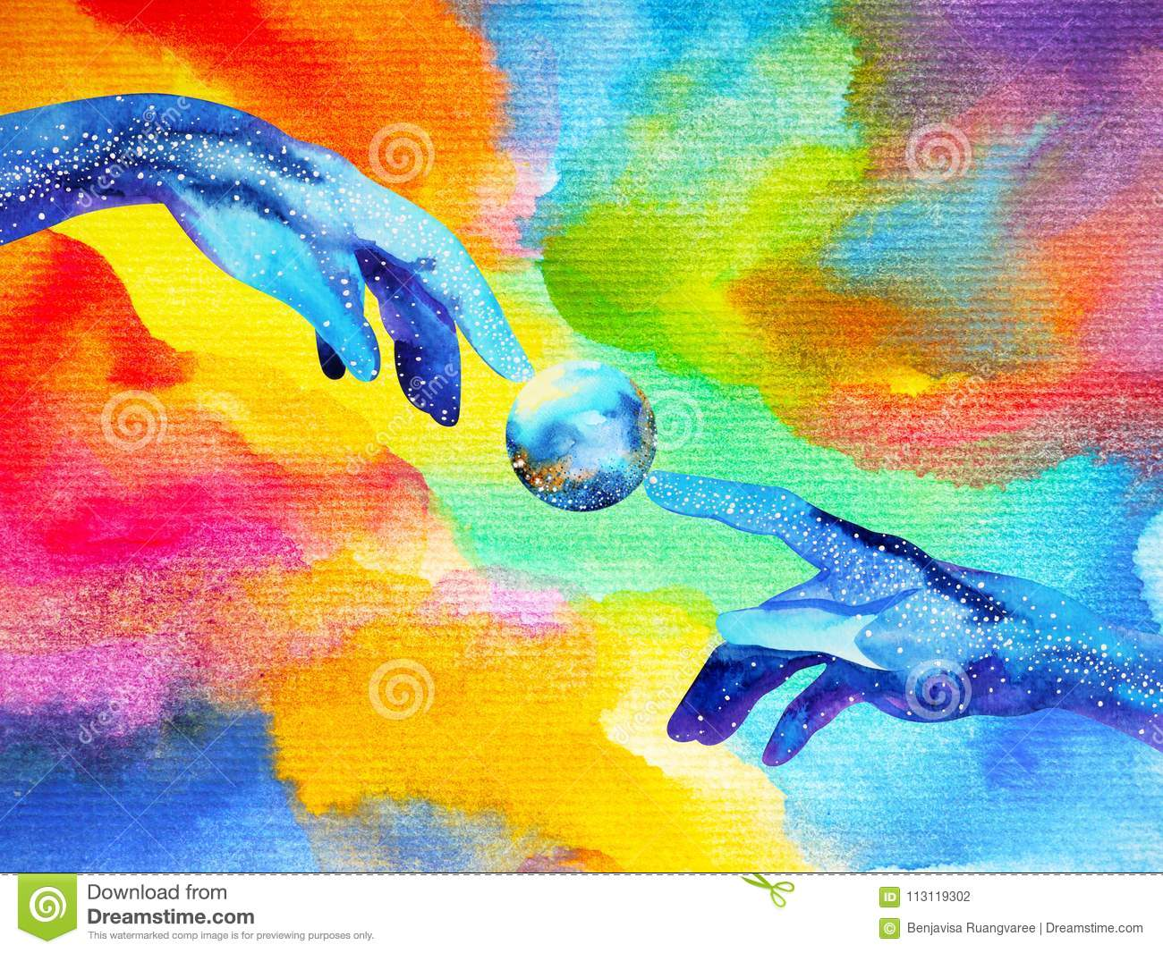 Hands of god connect to another world illustration design watercolor painting