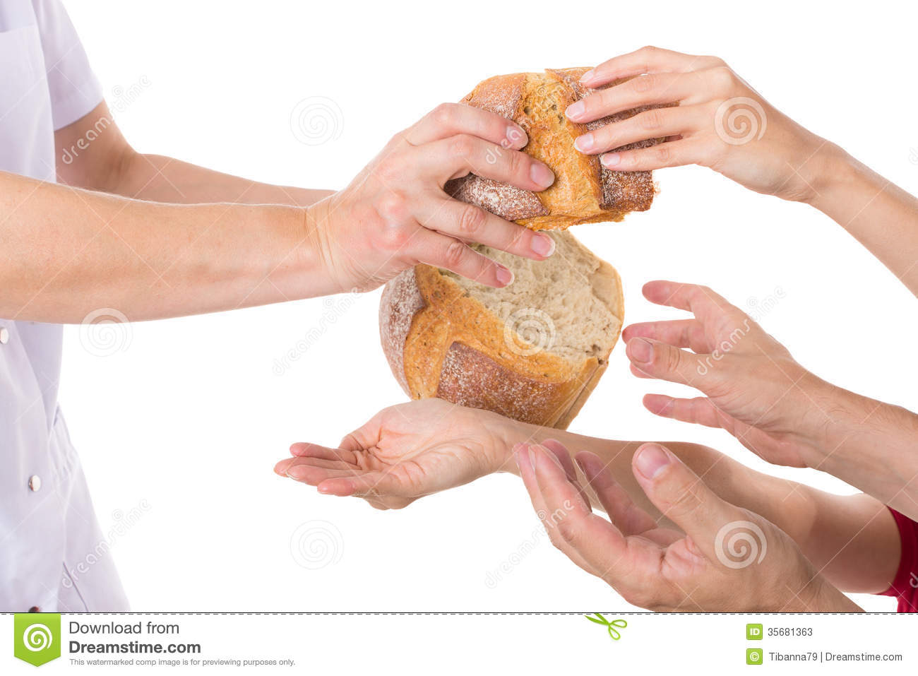 Hands grabbing for bread stock image. Image of know ...