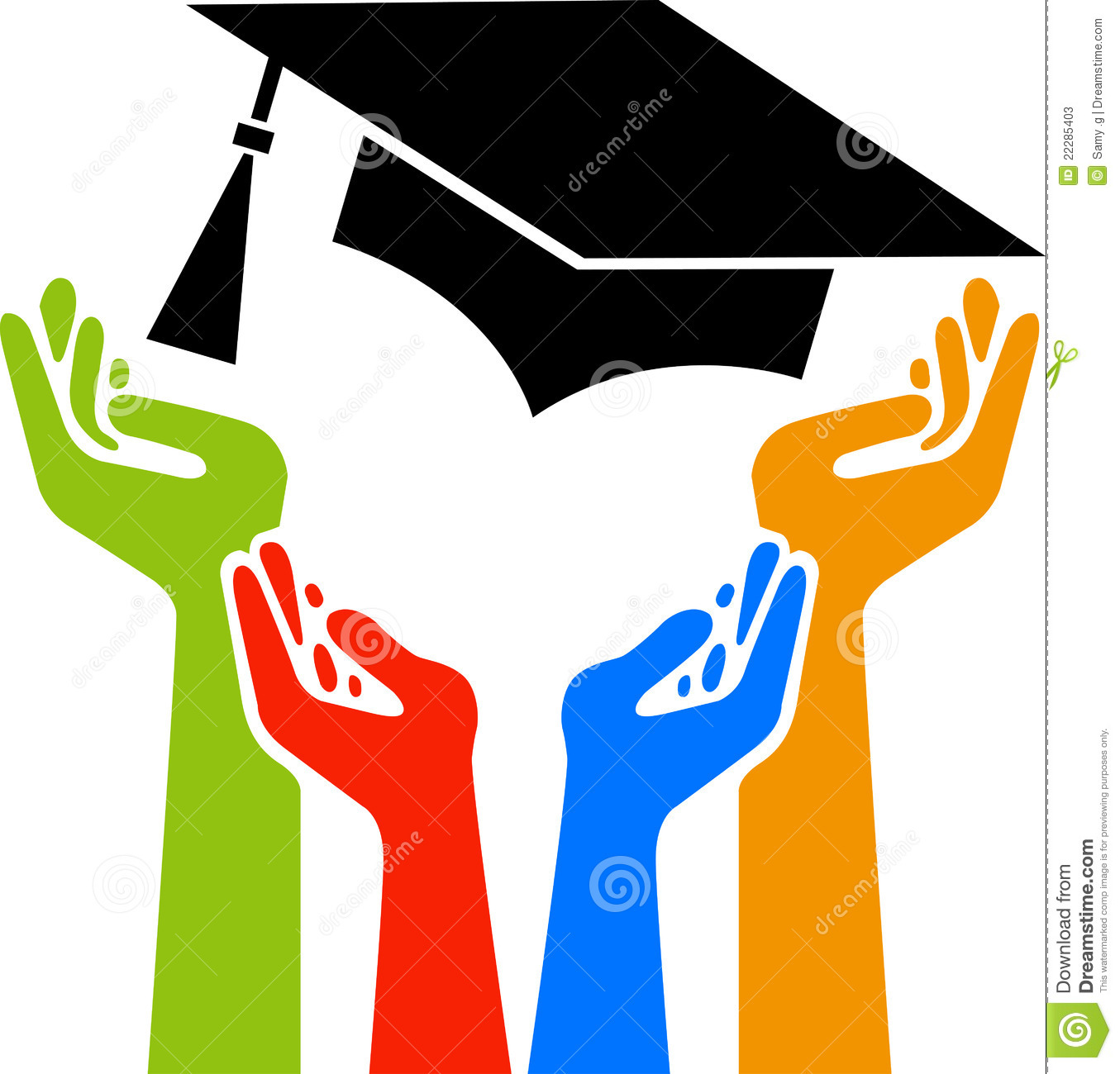 Illustration art of a hands graduation logo with isolated background.