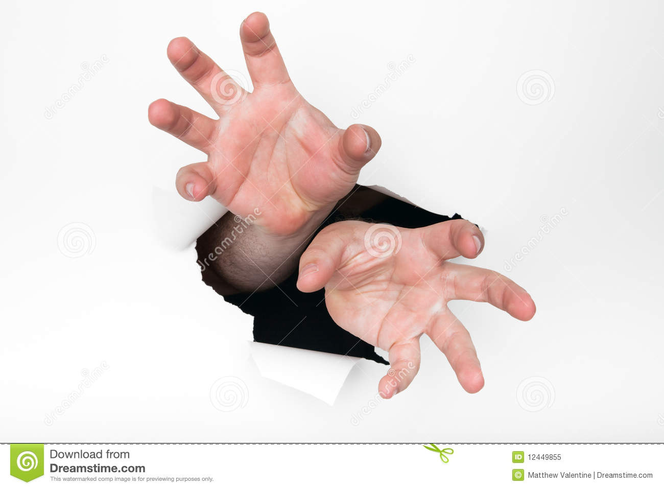 Hands Grasping Through Hole Royalty Free Stock Photo ...