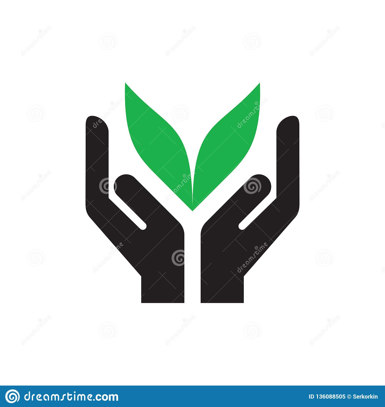 Hands With Green Leaves - Icon On White Background Vector