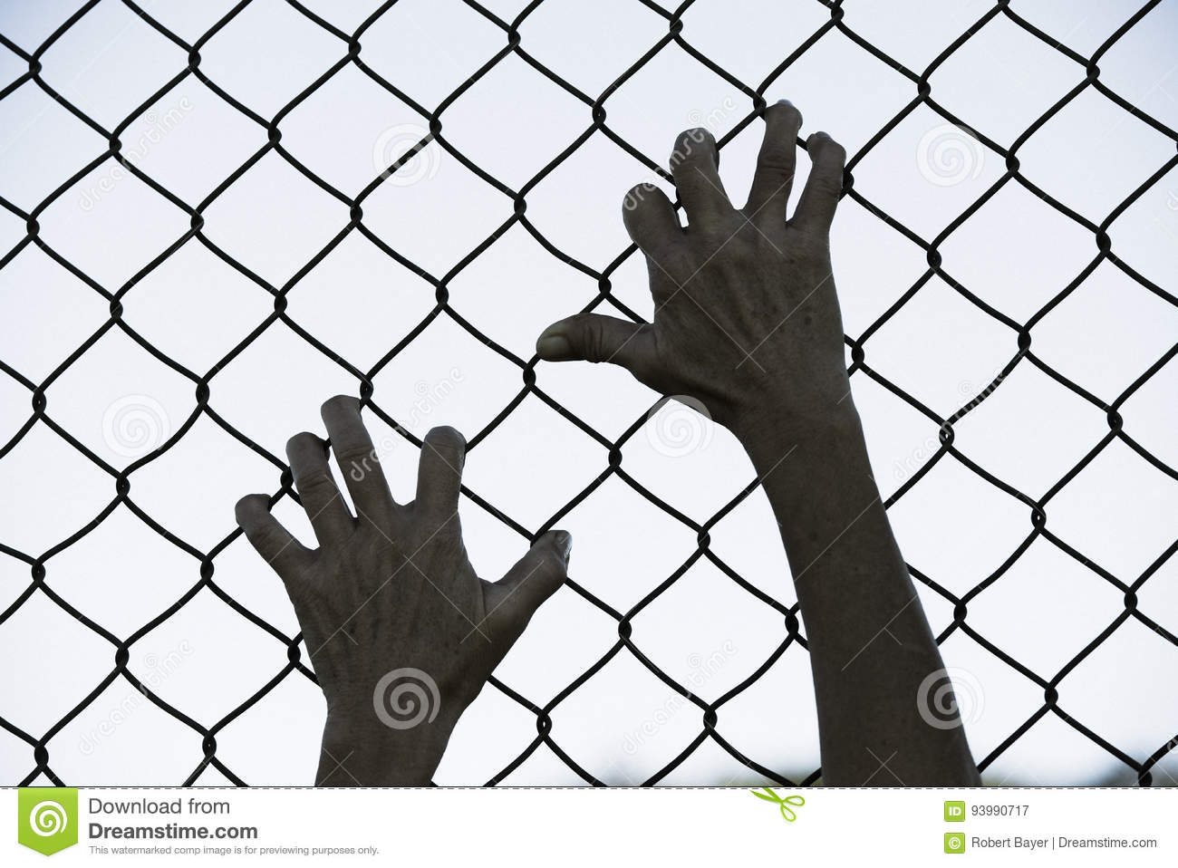 Hands Gripped Onto Prison Mesh Wire Fence Stock Image - Image of ...