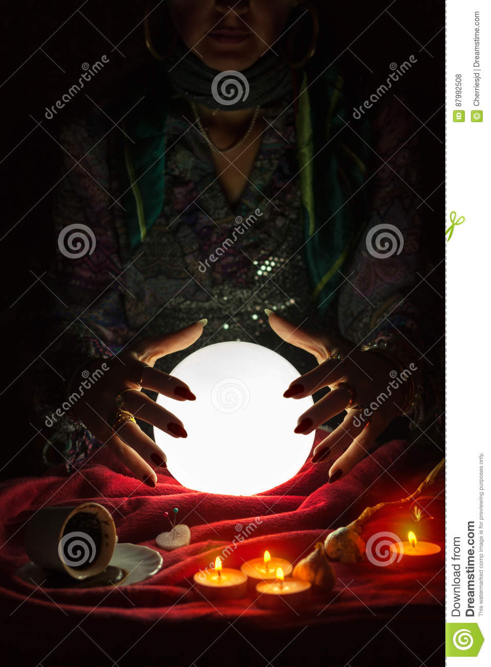 Hands From Gypsy Fortune Teller Above Magic Crystal Ball ... Crystal Ball Fortune Teller