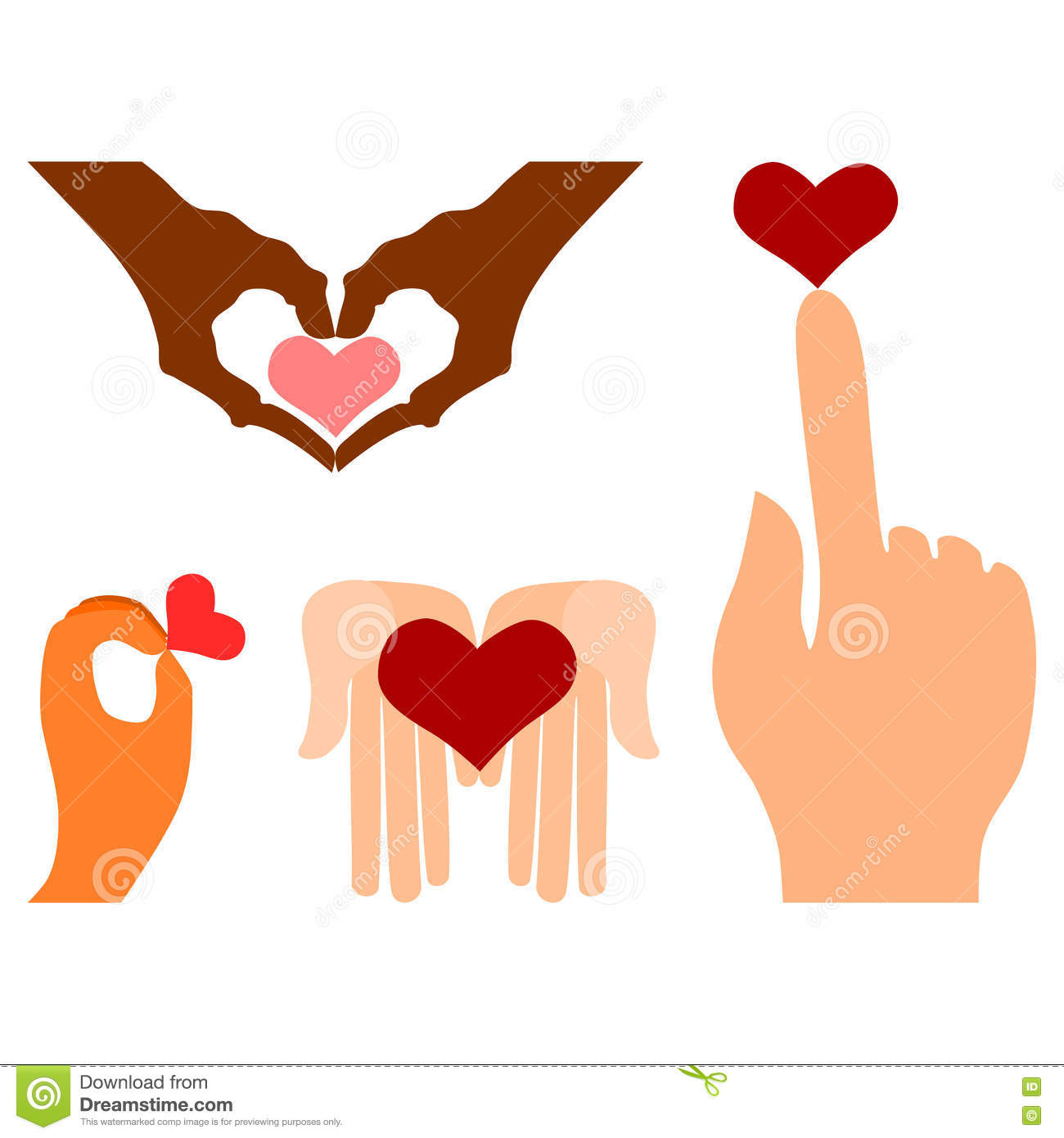 Hands With Heart Symbols Stock Vector Illustration Of Graphic