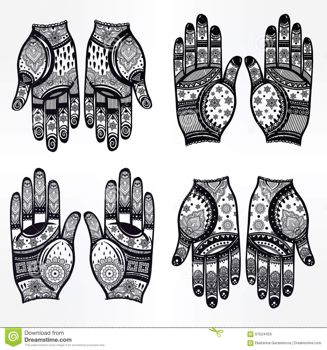 hands with henna tattoos set illustration stock vector