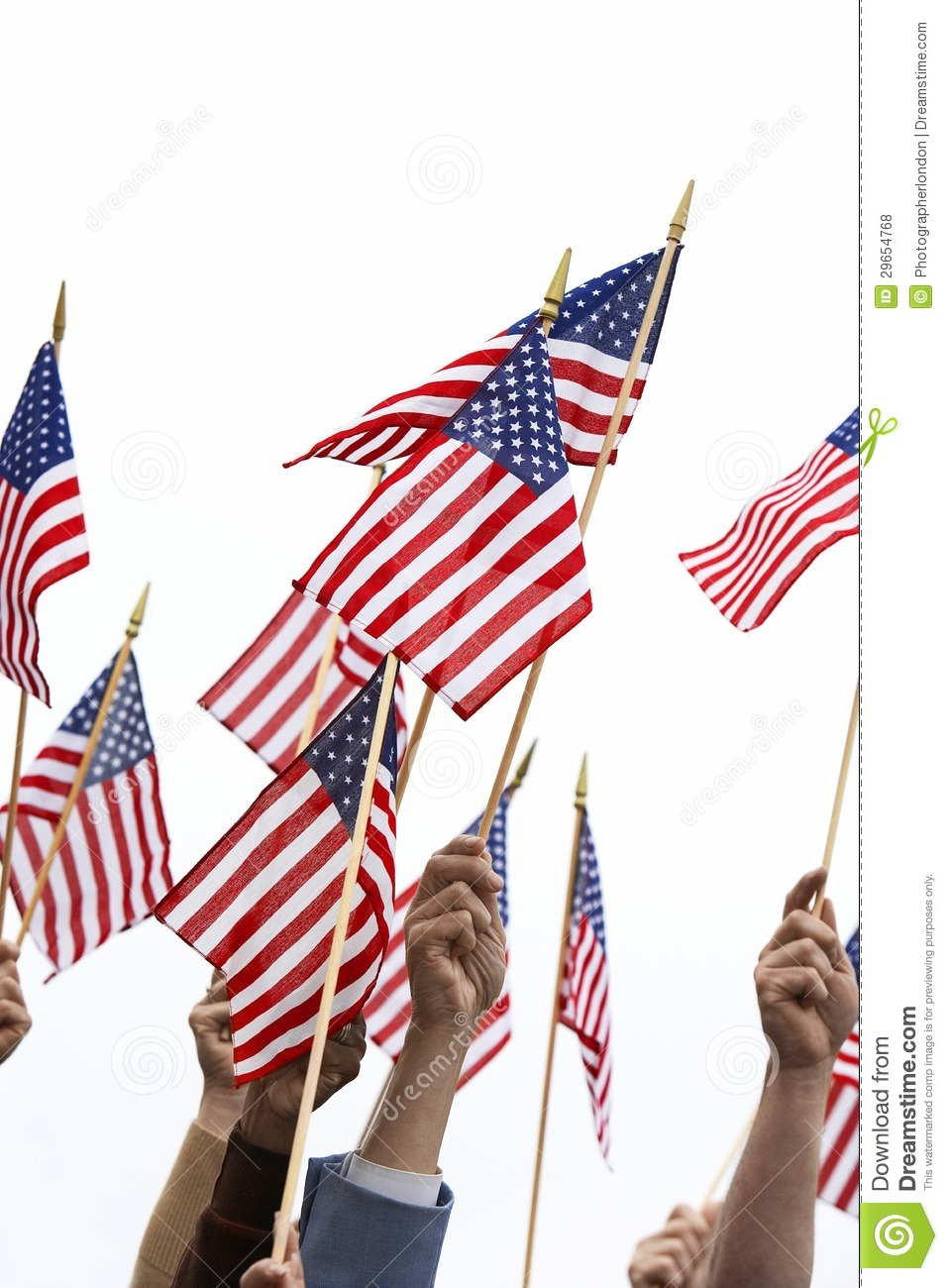 Citizens Of Beauty: Hands Holding American Flag Royalty Free Stock Photos