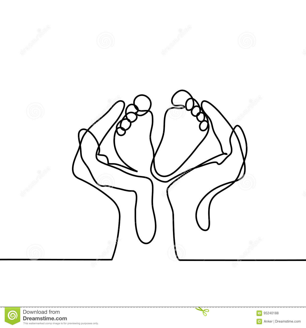 Line Drawing Baby : Hands holding baby foot protection symbol stock vector