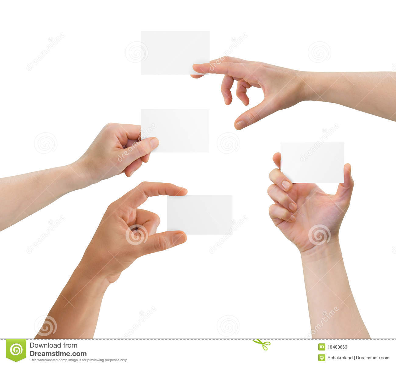 Hands Holding Blank Business Cards With Copy-space Stock ...