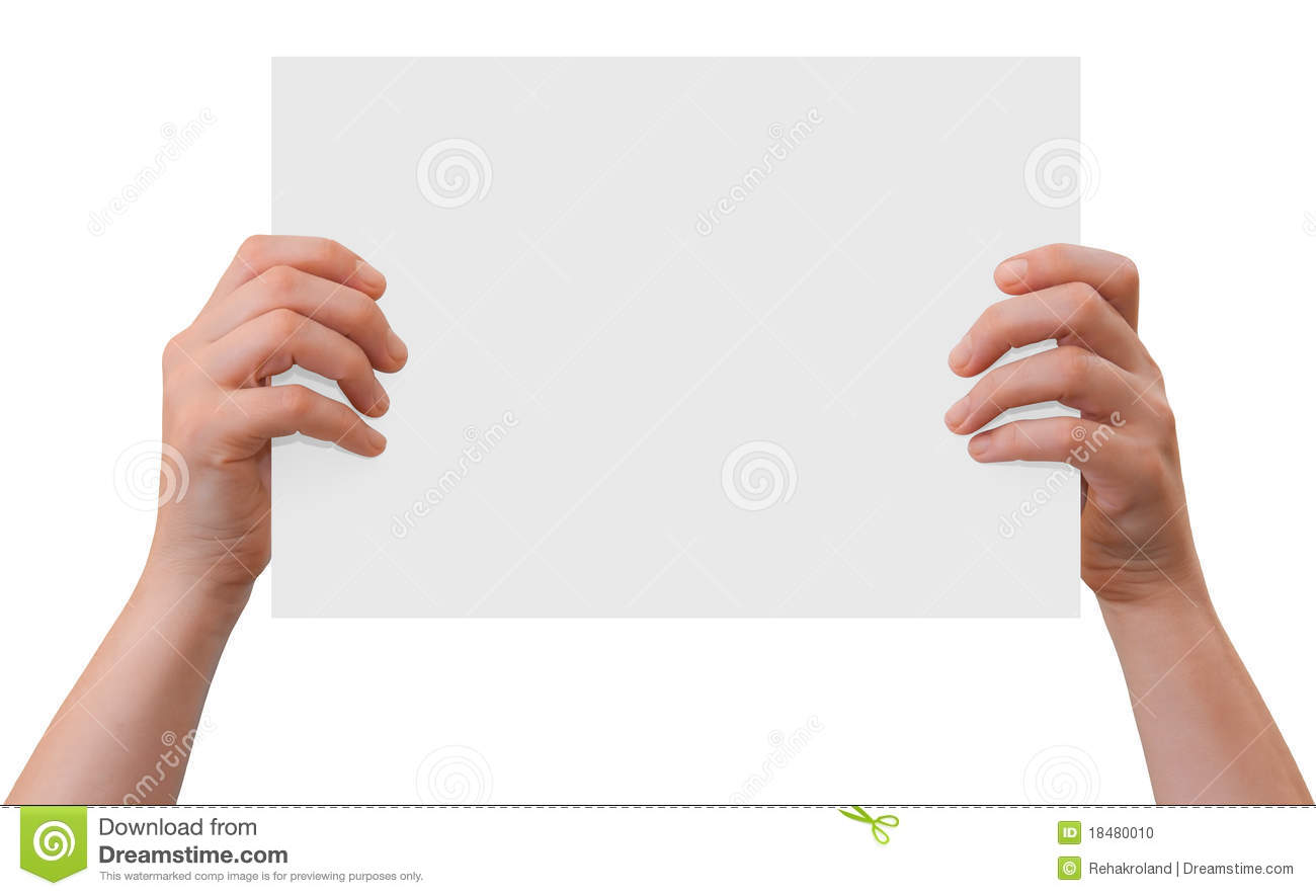 Hands of a caucasian female upholding blank sheet of paper with copy ...
