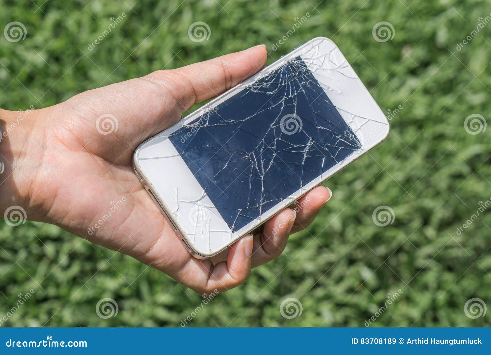 Hands Holding Broken Mobile Smartphone Stock Image - Image of defeat