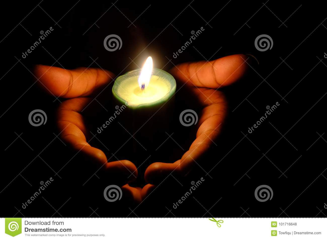 Hands Holding A Burning Candle In Dark Like A Heart Stock Photo ... for Holding Candle In The Dark  150ifm