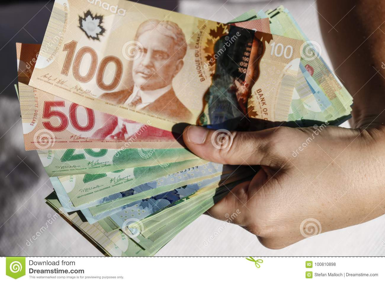 Hands holding Canadian Cash