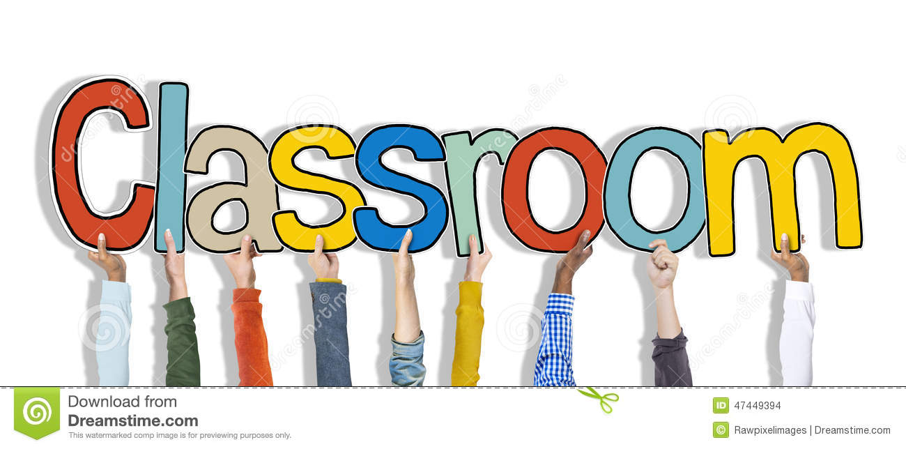 Hands Holding Classroom Word Isolated On White Stock Photo - Image ...