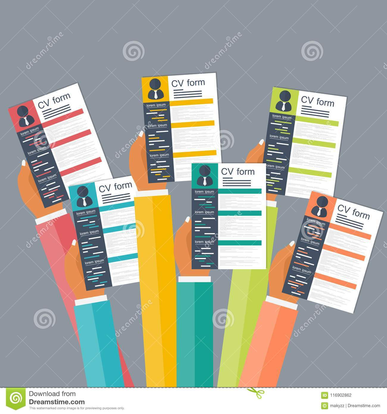 Hands Holding Cv Papers Human Resources Management Concept