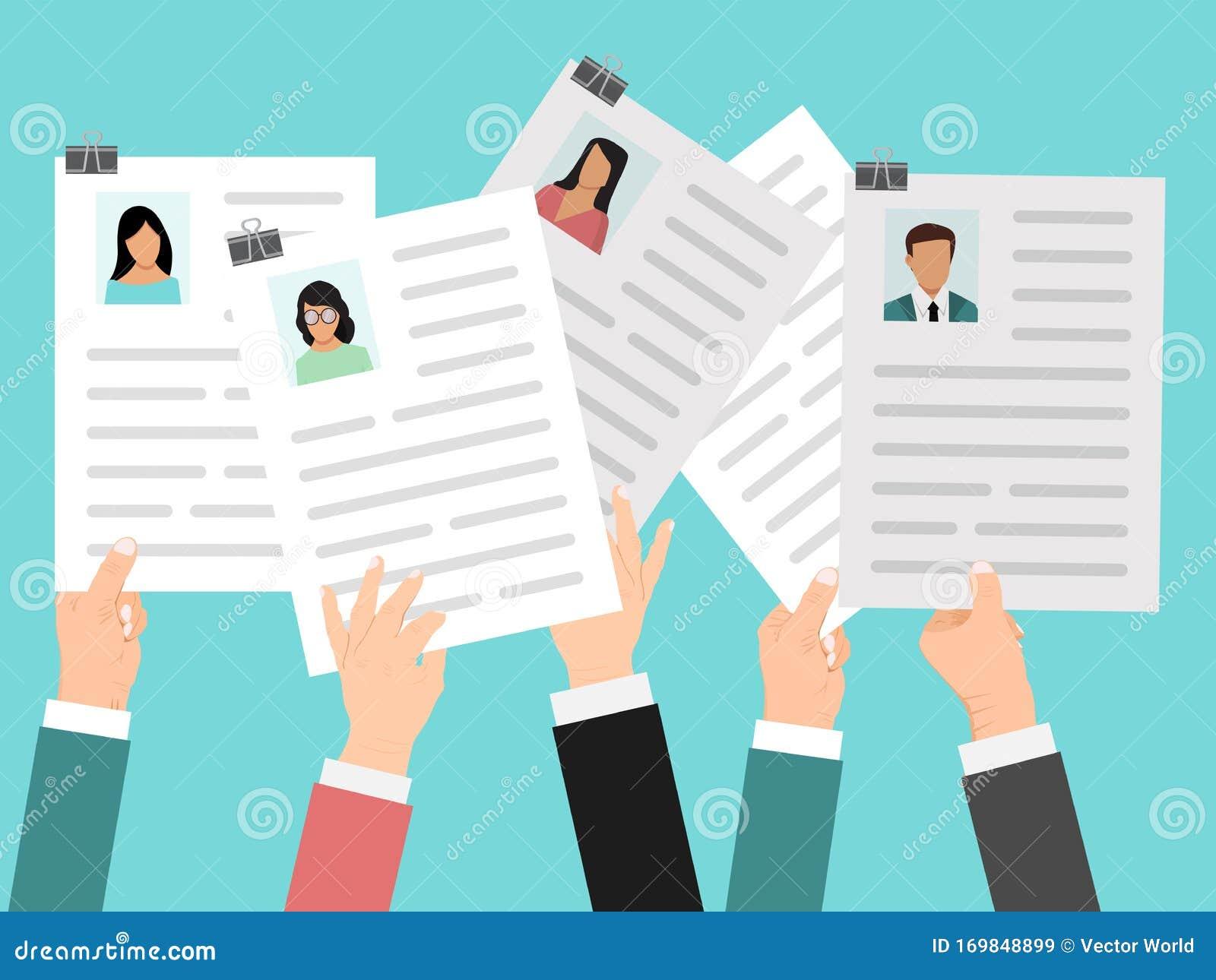 Hands Holding Cv Resume Vector Illustration Job Resumes