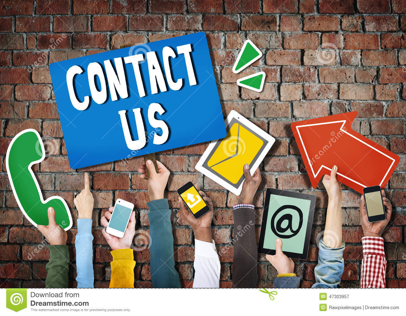 Hands Holding Digital Devices And Symbols Contact Us Stock