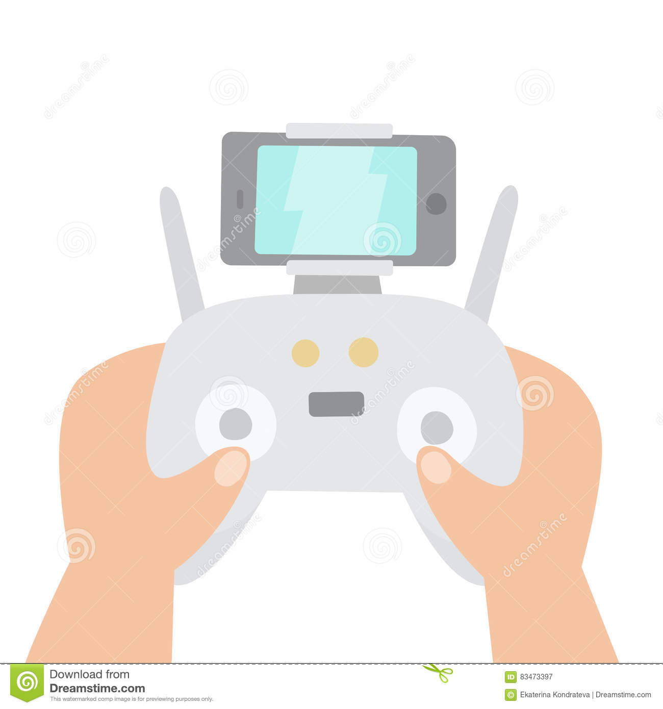 Aerial Drone And Drones Controller. Vector Illustration ...