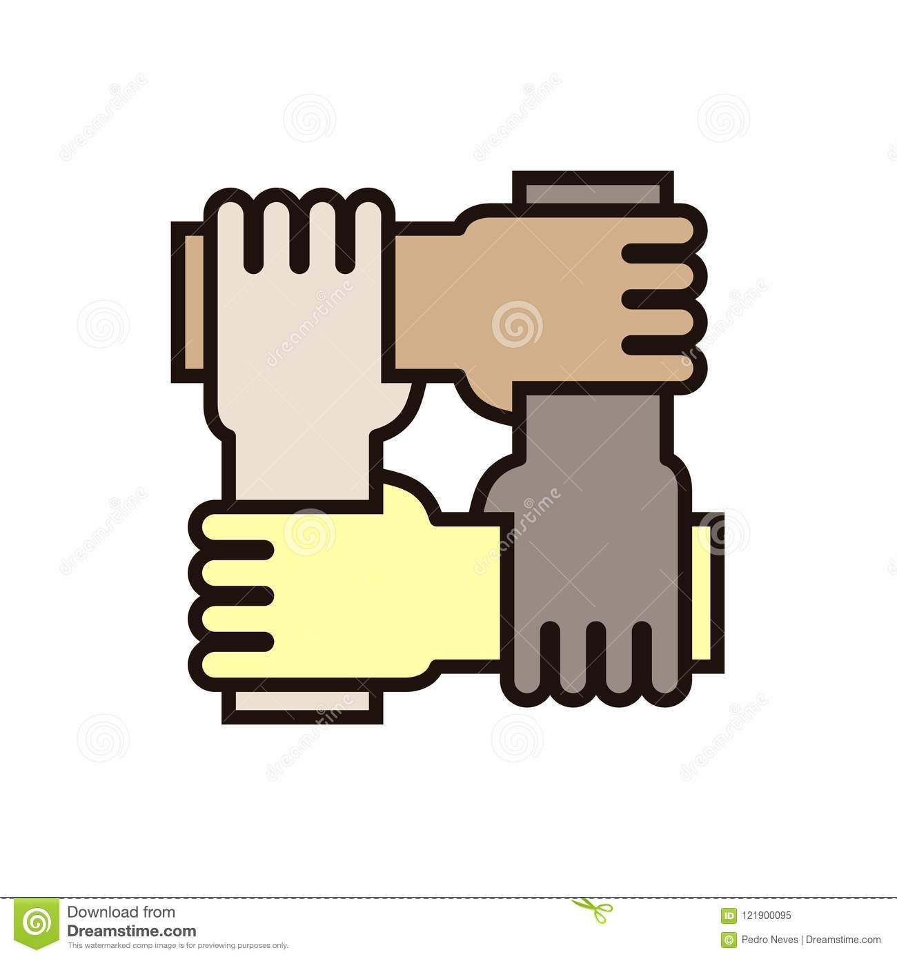 4 hands holding eachother. Vector icon for concepts of racial equality, teamwork, community and charity.