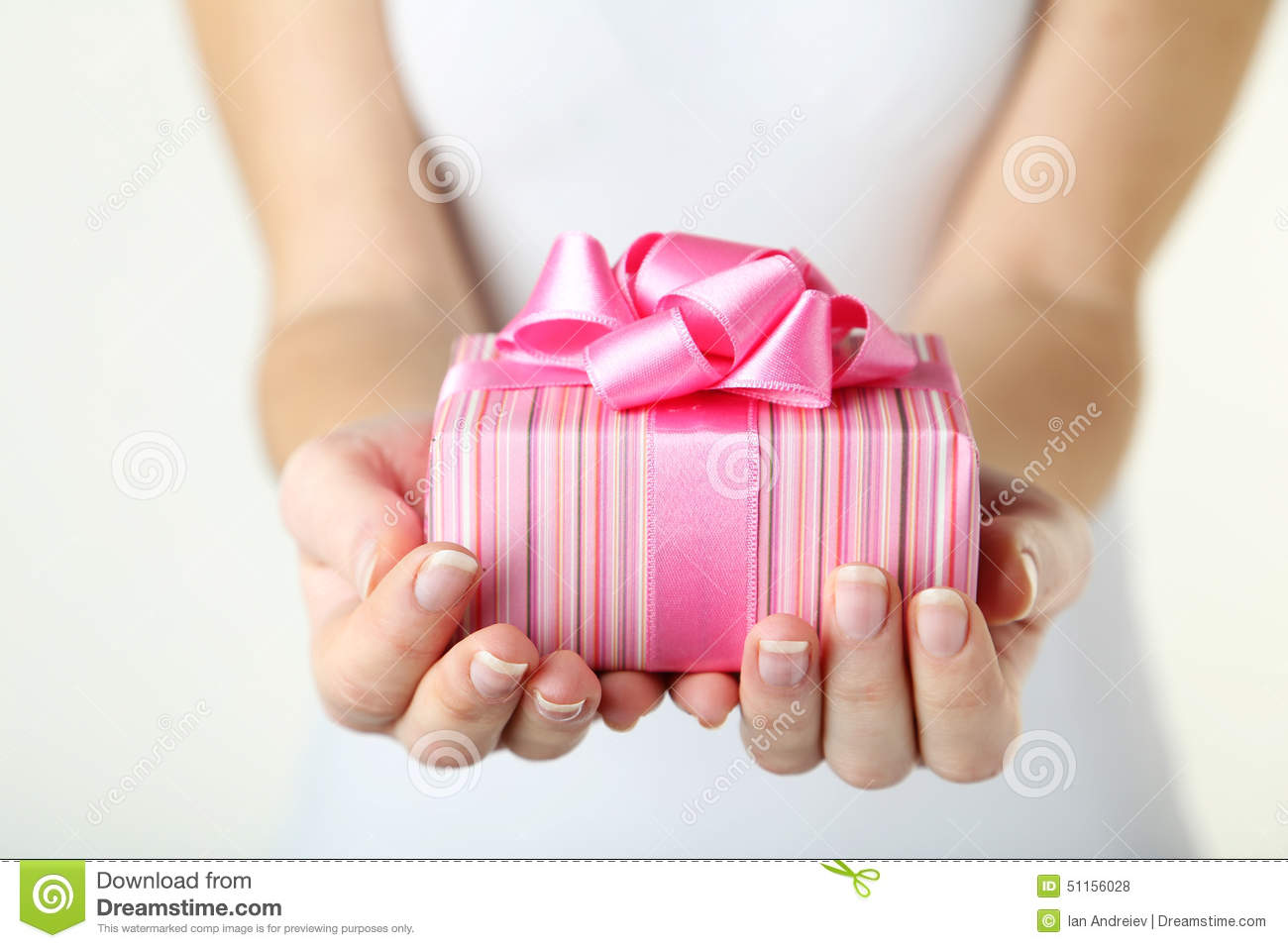 Hands holding gift box stock photo. Image of person ...
