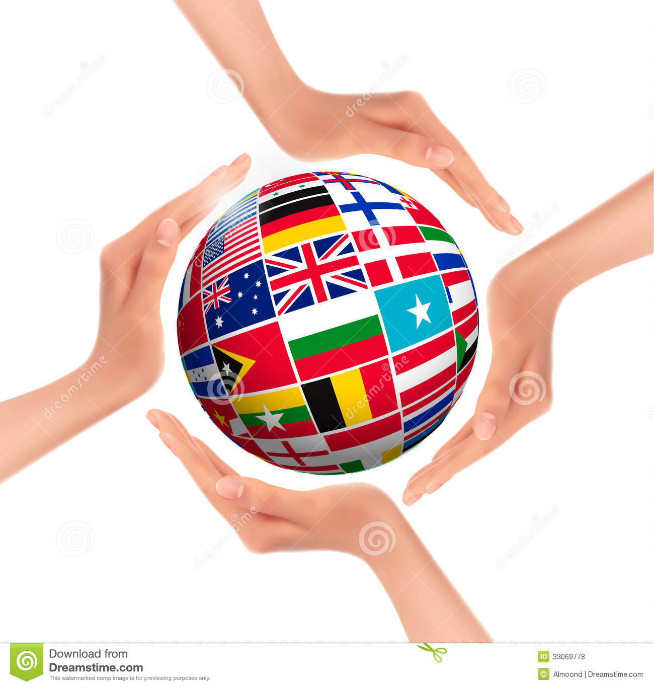 World: Hands Holding Globe With Flags Of World Stock Vector