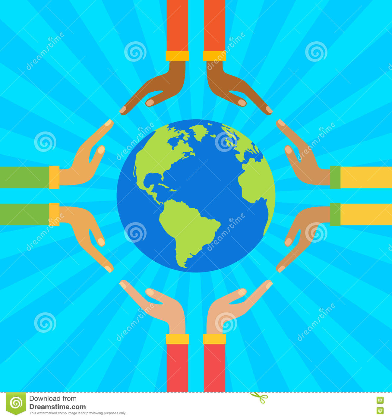 Hands Holding Globe Save Earth Concept Vector Illustration Stock