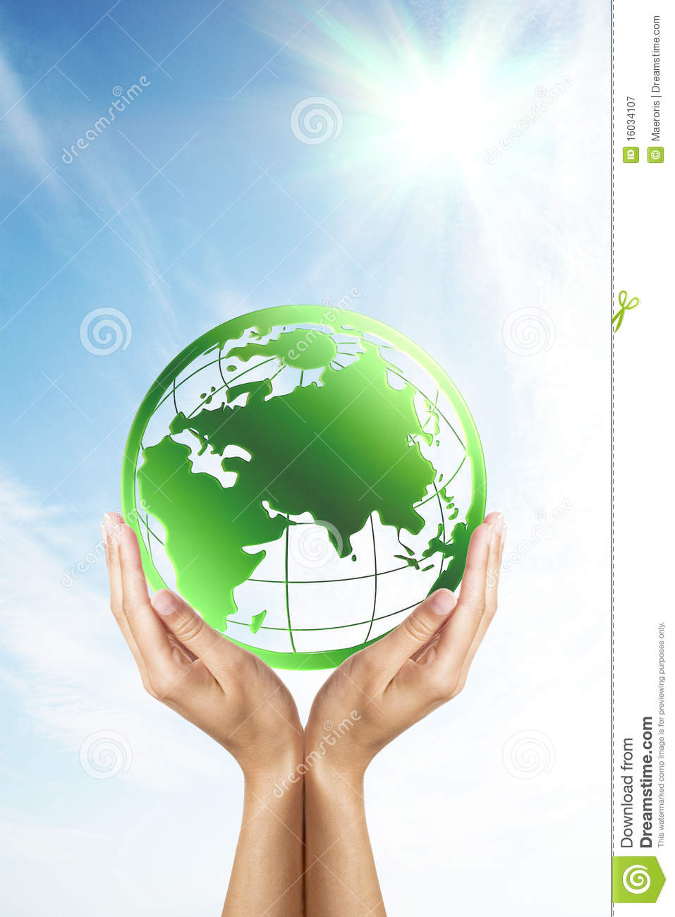 Hands Holding A Green Planet Earth Royalty Free Stock