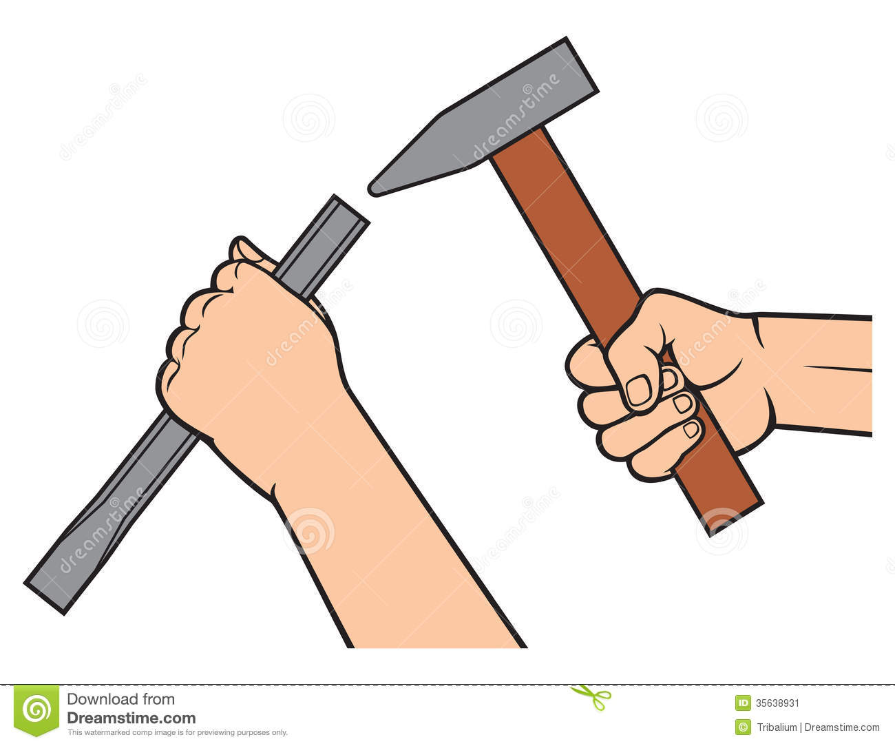 Hands Holding A Hammer And Chisel Stock Image - Image ...