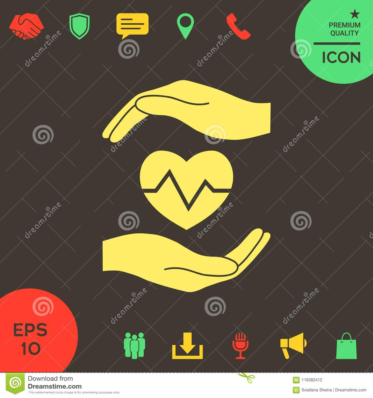 Hands Holding Heart  Medical Icon Stock Vector - Illustration of